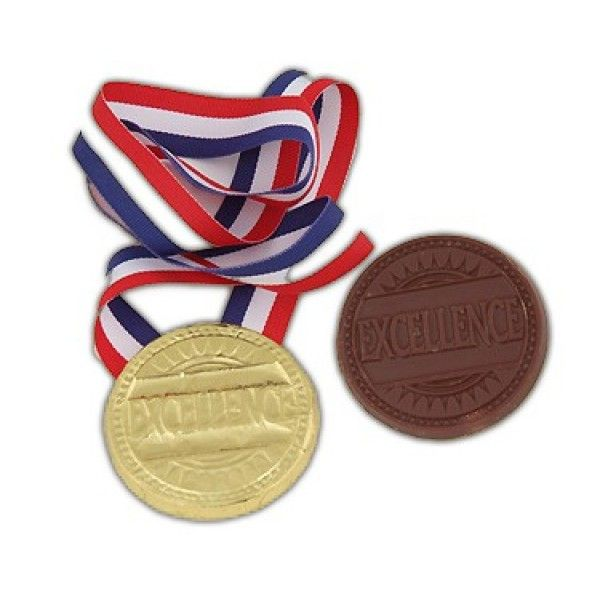 Belgian milk chocolate medallion the word excellence embossed in the chocolate, comes wrapped in bright gold foil complete with a red, white and blue ribbon Chocolate Medal