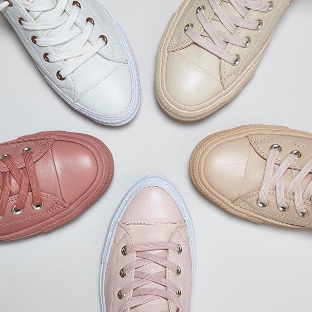 We have 5 new @converse exclusive styles for you! Say Hello to the Holiday nude collection including the CTAS Gemma Low leathers in evening sand gold & egret rose gold & All Star Low leathers in amberlight light gold, ivory cream light gold & desert sand light gold. Online this evening. #converse #newin #exclusive