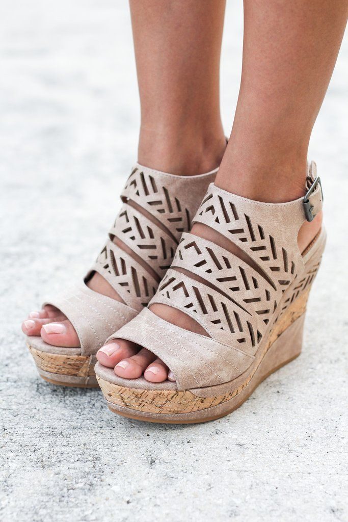 These Patia Cream Wedges are so unique, they will definitely turn heads! It is covered in the most unique cut out detail across the front. Pair them with a top and bottom from our online boutique and