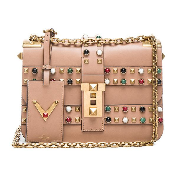 Valentino Rockstud Rolling Bag ($4,695) ❤ liked on Polyvore featuring bags, handbags, roll up bag, beige bag, roll bag, beige purse and beige handbags