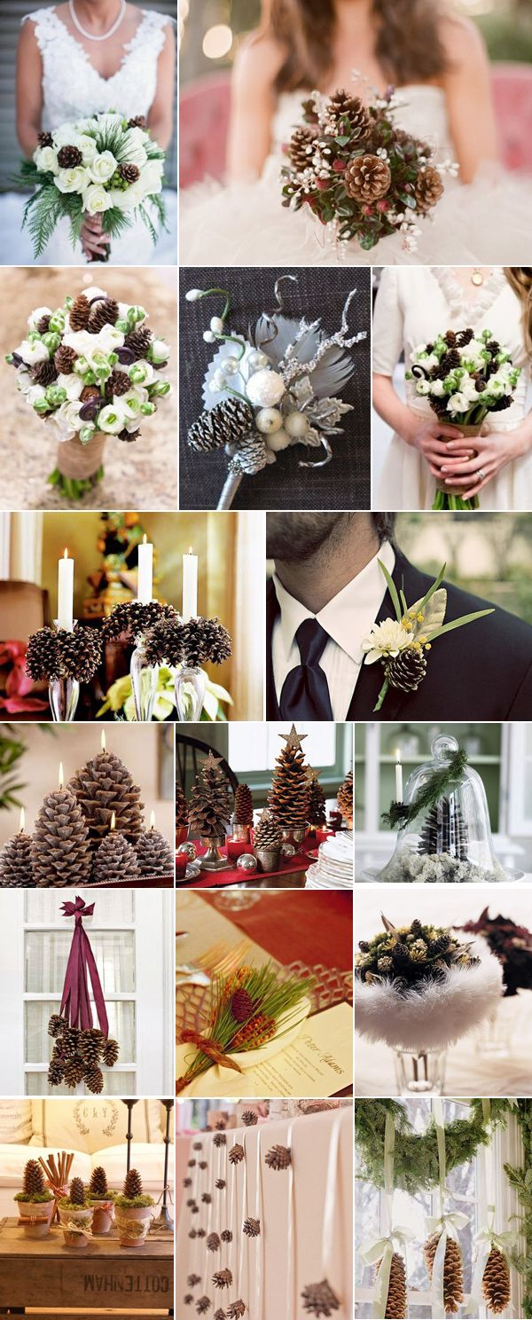 Шишки в оформлении свадьбы зимой - свадьба в Ростове