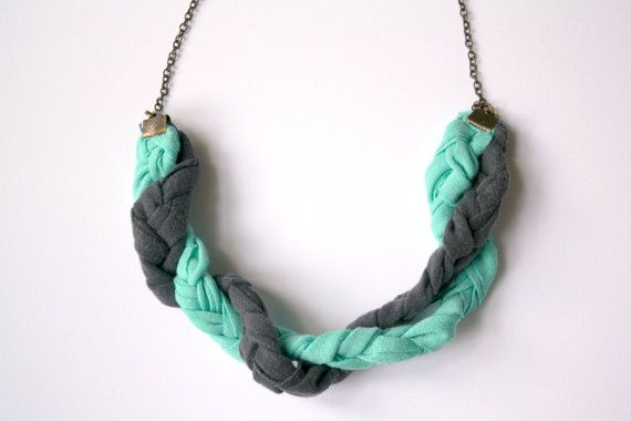 Fabric necklace Turquoise Blue Long braided necklace by ganbayo