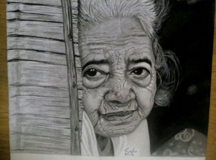 old woman  conte and charcoal on paper.