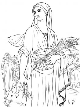 Ruth in the Fields. Coloring pages based on great works of art.