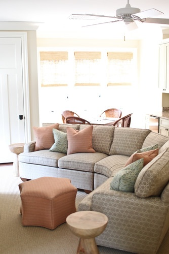 unique solution to a 'media' couch--curvedCurves Couch, Couch Ideas, Decor Ideas, House Ideas, Couch Design, Living Room, Donaldson Interiors, Media Room, Families Room