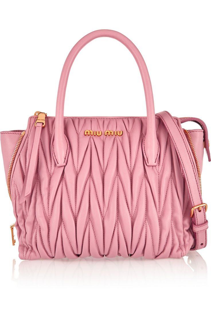 Leather quilted handbags and purses - Miu Miu Trapeze Mini Matelass Leather Shoulder Bag Net A Porter