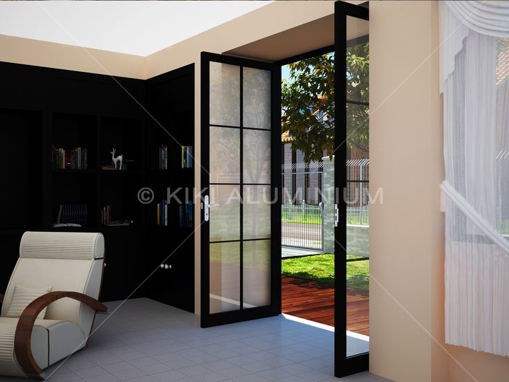 Pintu Swing Group 9055 dengan variasi grid untuk estetika; Finishing profil aluminiun powder coating warna Black Satin