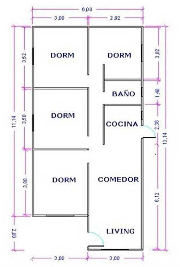Diseno de casas de 72 metros cuadrados