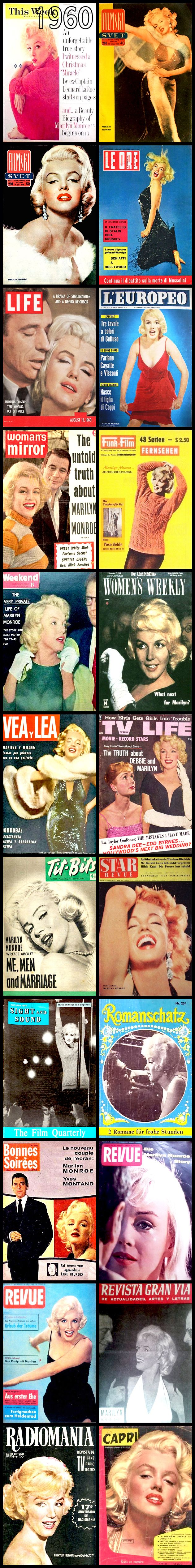 1960 magazine covers of Marilyn Monroe .... #marilynmonroe #normajeane #vintagemagazine #pinup #iconic #raremagazine #magazinecover #hollywoodactress #1960s