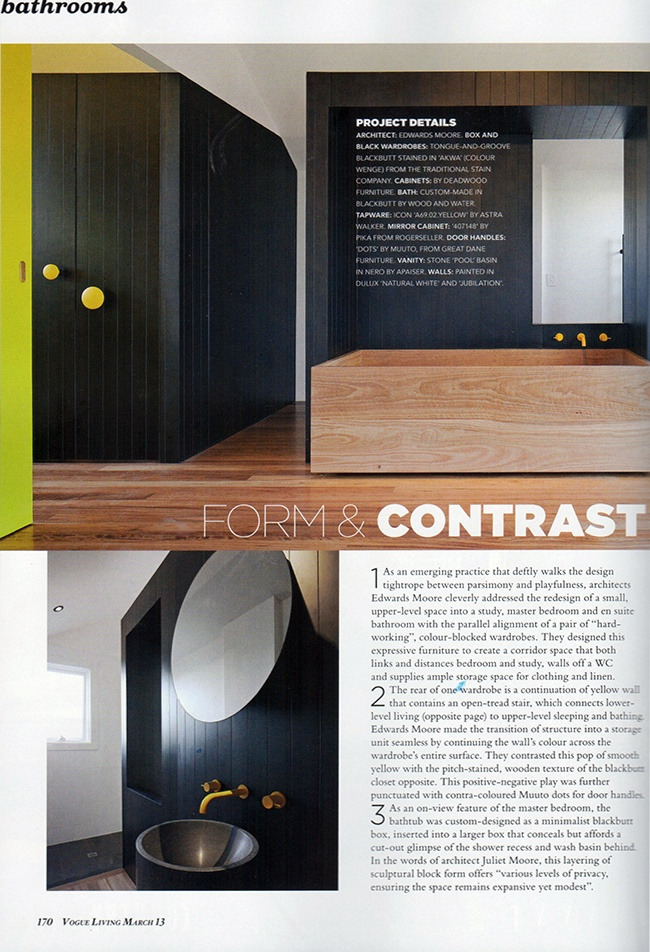Create a positive/negative play with Muuto dots used as door handles against opposite colours. Architects Edward Moore create form and contrast.