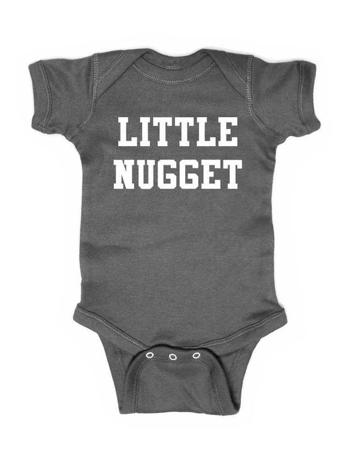Little Nugget - white print - cute funny baby onesie one piece bodysuit