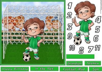 How Old Little Green Footballer on Craftsuprint designed by Barbara Alderson - step by step decoupage on card front with numbers for the front of the little footballer's shirt and a choice of sentiments - Now available for download!