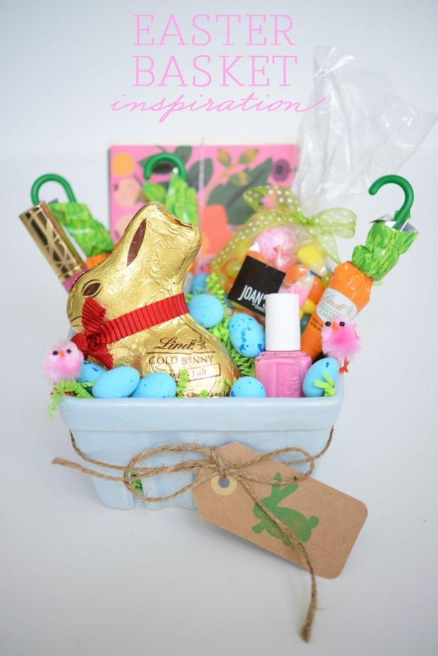Easter Basket Inspiration from @Emily Schoenfeld Schuman / Cupcakes and Cashmere featuring the #LindtGOLDBUNNY!