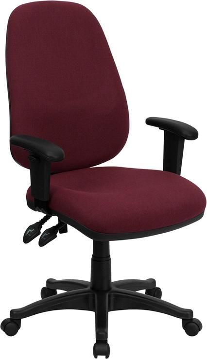 High-Back Burgundy Ergonomic Computer Chair w/ Height Adjustable Arms