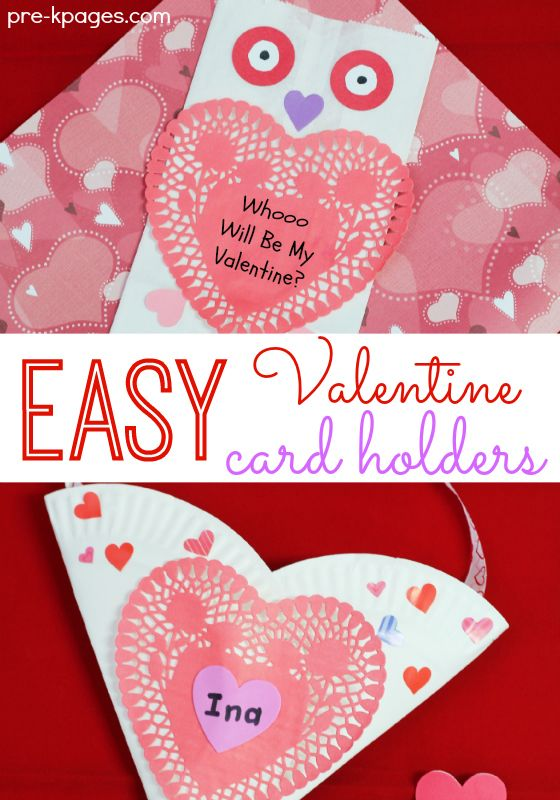Easy Valentine Card Holders for Kids to Make for Valentine's Day in Preschool and Kindergarten.