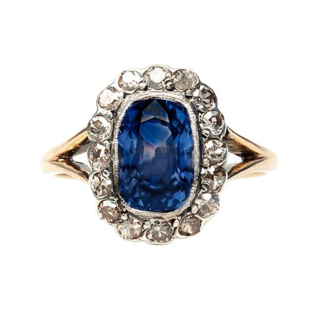 vintage Edwardian sapphire and diamond ring