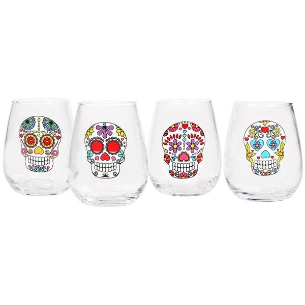 Home Essentials and Beyond Wanderlust Multicolor Skull Stemless Wine... (17 CAD) ❤ liked on Polyvore featuring home, kitchen & dining, drinkware, multi, stemless wineglasses, stemless wine glasses, stemless wine glass set, multi colored wine glasses and coloured wine glasses