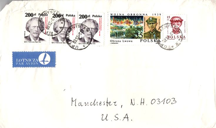 Letter from Krasnystaw to USA, 1989. (L to R) Ignacy Jan Paderewski who was a pianist and also the first Prime Minister when Poland gained independence in 1918. - Gen. Wladyslaw Langner, who fought the Battle of Lwow with a group of soldiers to hold off the Germans. After 10 days he surrendered to save Polish lives and spare Lwow. - One of the 640 year-old sculpted heads kept in Wawel Castle in Krakow. Many more were created. Only 30 still exist.