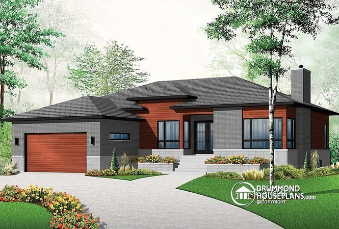 W3280 affordable ranch bungalow with home office open for Contemporary ranch house plans