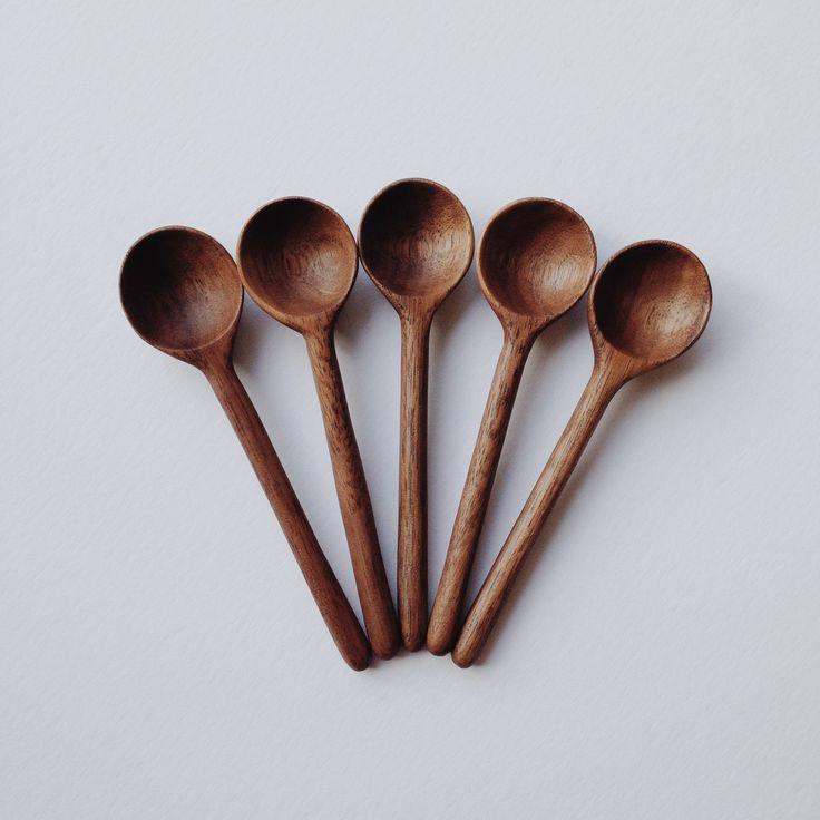 Small walnut salt spoon by Roanna Wells.