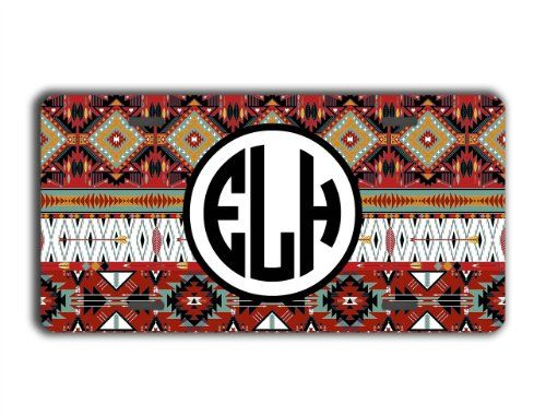 Personalized front license plate  Aztec pattern in dark maroons and brown  monogrammed car tag custom car accessory ** You can get more details by clicking on the image.Note:It is affiliate link to Amazon.