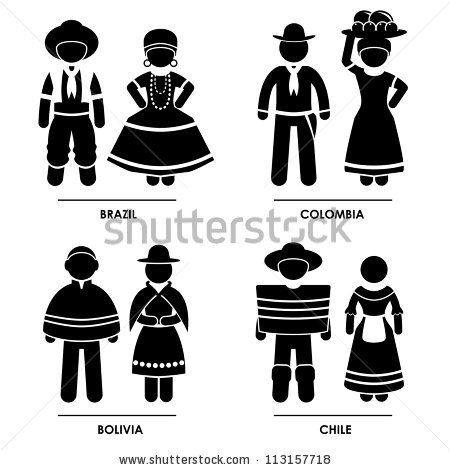 South America - Brazil Colombia Bolivia Chile Man Woman People National Traditional Costume Dress Clothing Icon Symbol Sign Pictogram - stock vector