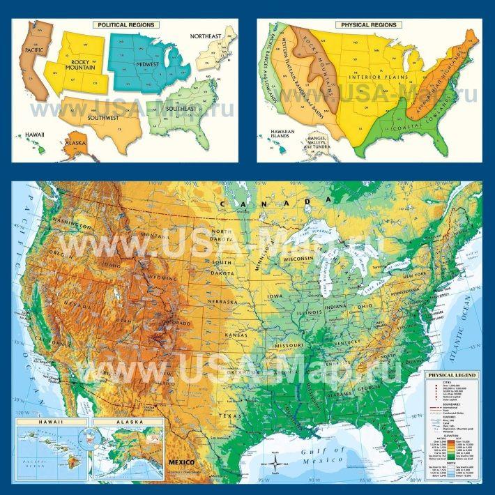 Географическая карта США
