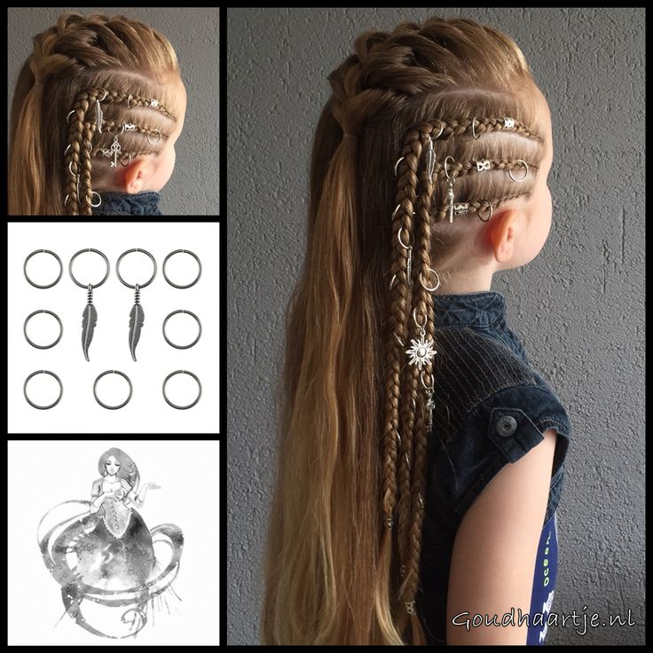 Three cornrows and a french braid with hair rings from Goudhaartje.nl These cool…