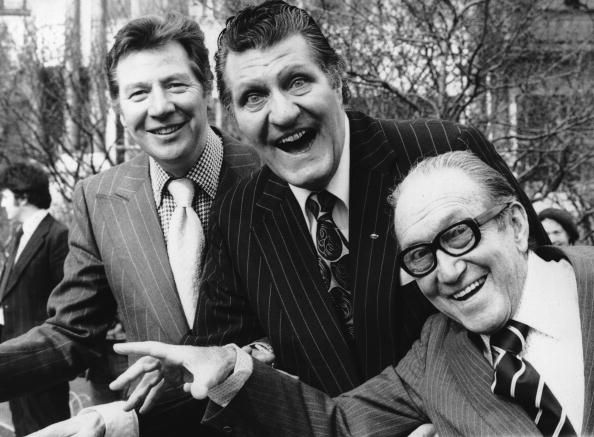 British comedian and magician Tommy Cooper celebrates 30 years in show business with Max Bygraves and Arthur Askey at a Variety Club luncheon at...