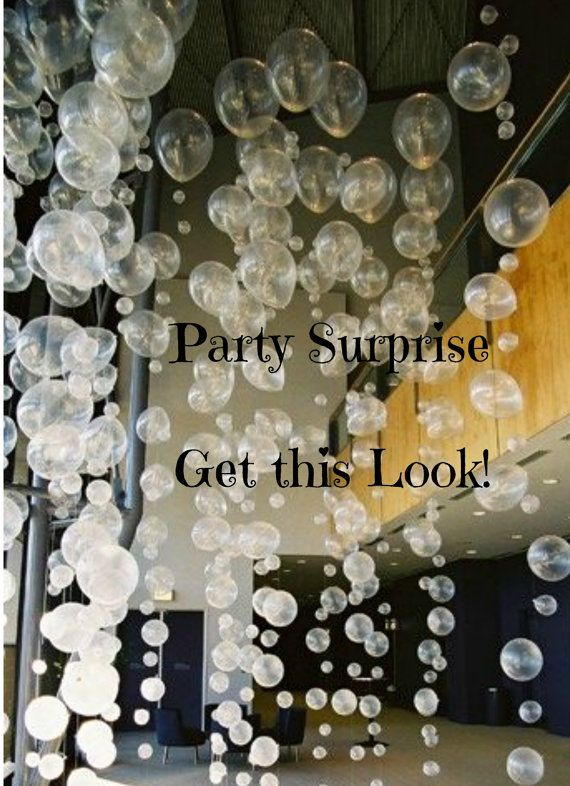 Get this Look! DIY *** Please READ Listing Description****  Balloon Bubble Strands are a hot look that can be easily achieved. So pretty for ceiling decorations! Simply select your colors and include variety of sizes, inflate with air, then tie together using monofilament (aka fishermans line). Photos 1 & 4 above are ideas from Pinterest that can be replicated. Photos 2 and 3 above are from very happy customers - one was for her daughters under the sea party, the other was at the champagn...