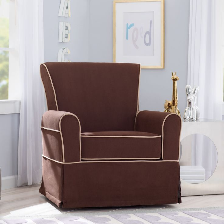 Delta Children Benbridge Nursery Glider Swivel Rocker Chair, Cocoa with Beige Welt (Cocoa & Beige) (MDF)