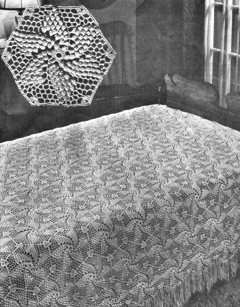 crochet pattern for Popcorn Pinwheel Bedspread - worth getting this vintage crochet pattern