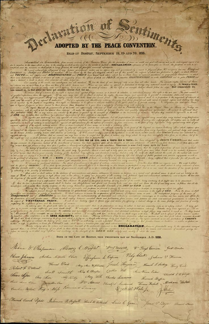 Declaration of Sentiments- The Declaration of Sentiments was a petition for women's rights signed in 1848 by 68 women and 32 men. The convention was held in Seneca Falls, New York and known as the Seneca Falls Convention. Elizabeth Cady Stanton was the main author of the Declaration of Sentiments.