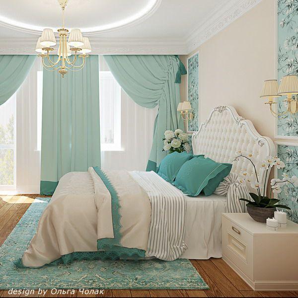 Свежесть и благородство в вашей спальне : сочетание бирюзового с белым