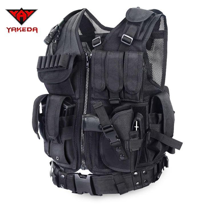 2016 Police Tactique Veste En Plein Air Camouflage Militaire Corps Armure Vêtements de Sport Chasse Gilet Armée Swat Molle Gilet Noir