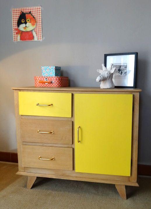 Commode vintage chêne clair et jaune #meuble-vintage #vintage