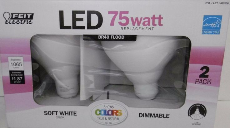 2-PACK 75WATT LED BR40 FLOOD FEIT DIMMABLE 75 WATT BULBS USE ONLY 15.5 WATTS    #FeitElectric