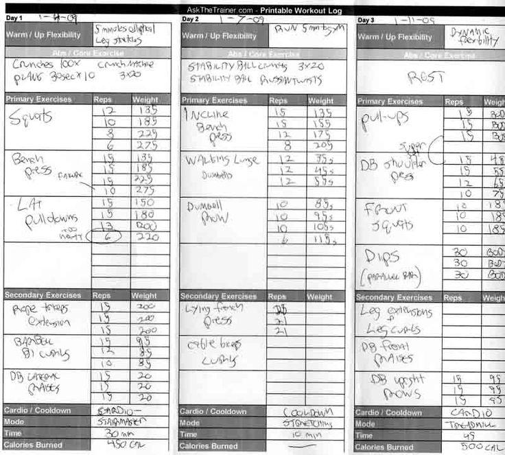 free printable exercise log sheet