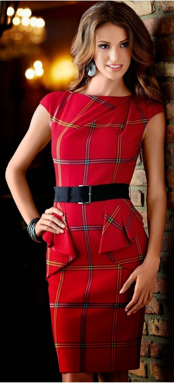 Tartan print peplum red night fashion dress