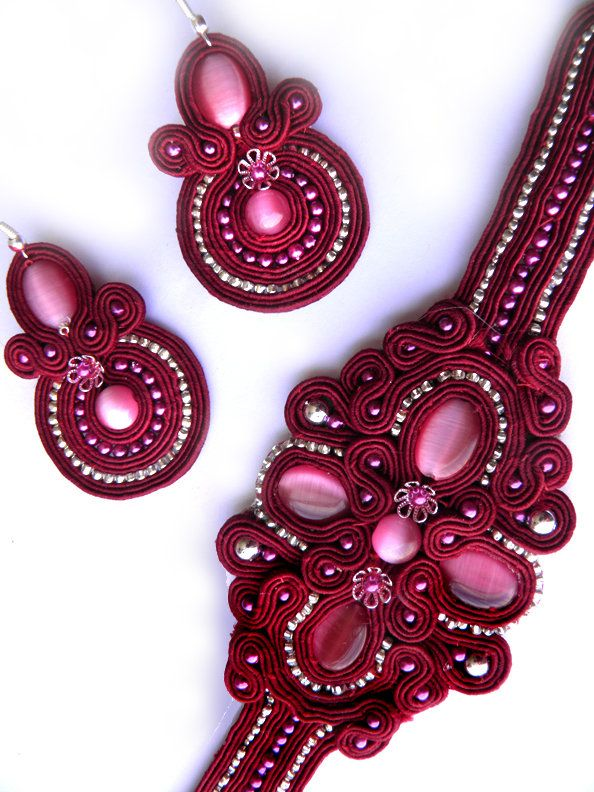 soutache handmade set of earrings and bracelet by caricatalia on deviantART