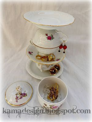 Jewelry cup and saucer tower
