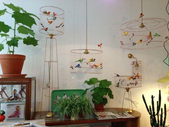 Mathieu Challieres voliere lamps, vogelkooi lampen bij Vintage Room, 's-Hertogenbosch Nederland