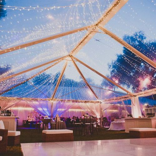 OMG I LOVE the clear tent. You can dance under the stars!!!  Wedding Reception Photos by Beachview Event Rentals & Design