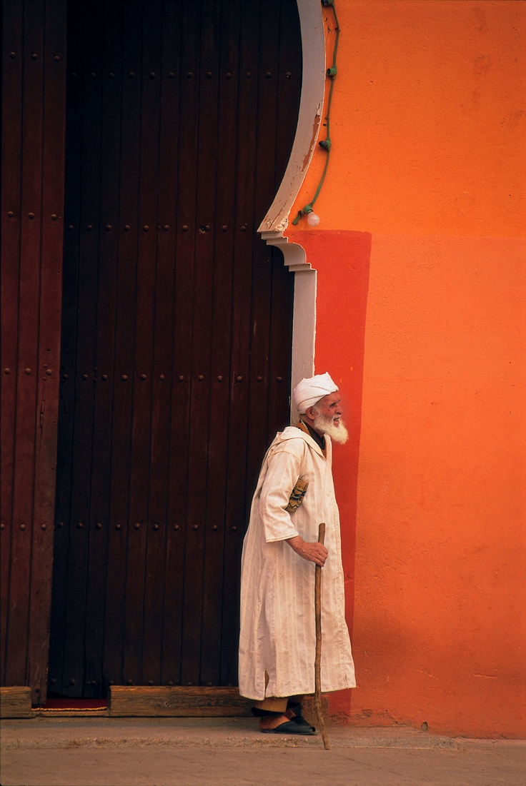 Orange wall in Morocco.