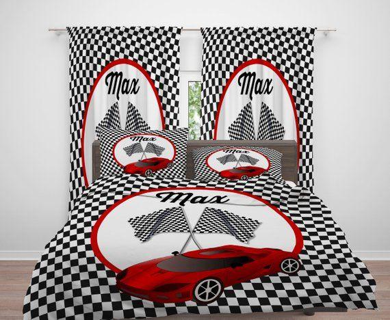 Personalized Race Car Comforter Duvet Cover Pillow Shams Etsy Pillow Shams Duvet Covers Shams
