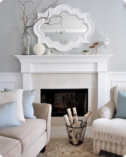 I like the mirror above the fireplace. I'm excited to get to decorate a fireplace/mantle for the first time!