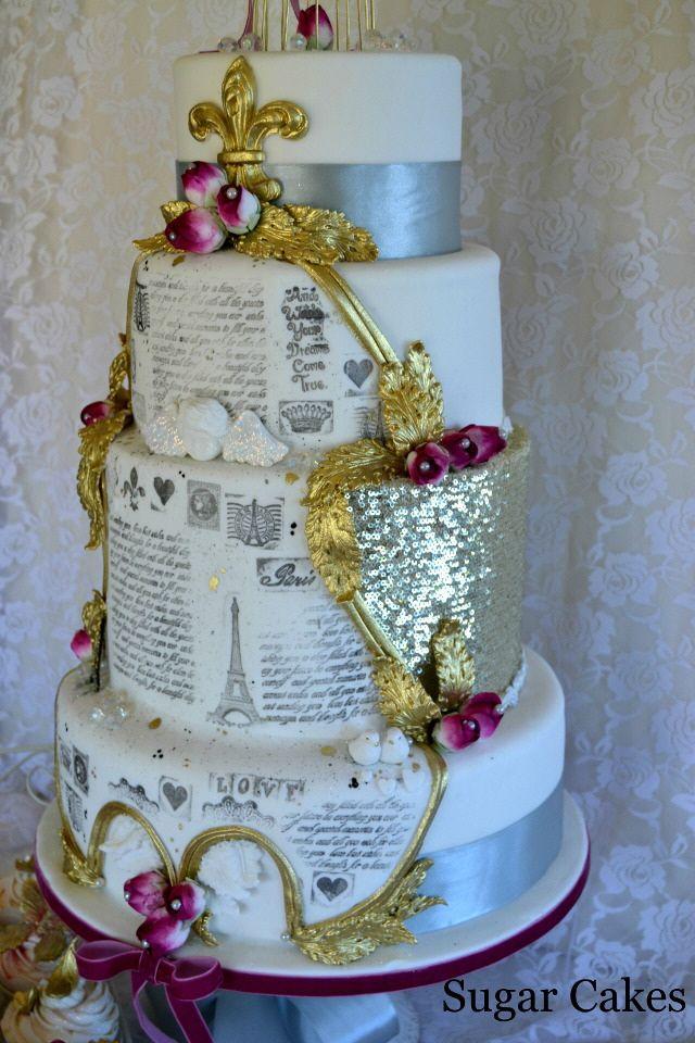 Sugar Cakes Vintage French themed Wedding Cake