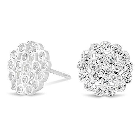 Simply Silver Sterling silver cubic zirconia cluster disc earring   Debenhams
