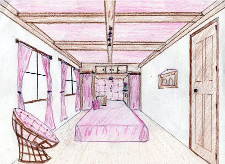 Papasan chair perspective drawings dream bedrooms for Bedroom designs sketch