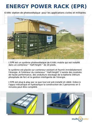 """Energy Power Rack (français)  L'EPR est un système photovoltaïque de 6 kWc mobile qui est installé dans un conteneur """" Half-Height """" de 20 pieds. Multicon-Solar"""